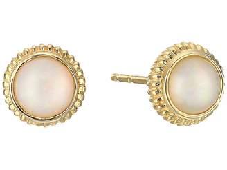 Shinola Detroit 14K Yellow Gold Coin Edge Studs w/ Opal Earrings
