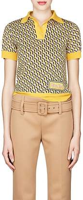 Prada Women's Geometric-Pattern Wool Polo Shirt