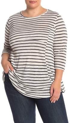 Bobeau Striped 3\u002F4 Length Sleeve Tee (Plus Size)