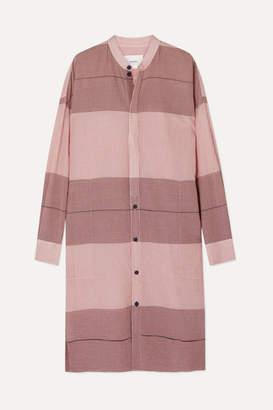 Bassike + Net Sustain Checked Cotton-gauze Tunic - Pink