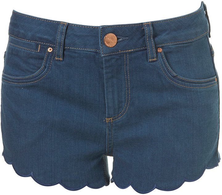 MOTO Blue Scalloped Hotpants