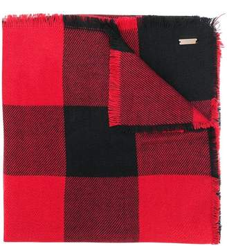 Woolrich chunky check print scarf