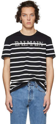 Balmain Black Striped Logo T-Shirt