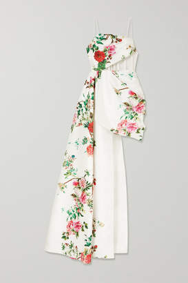 Alex Perry Reid Draped Tulle-trimmed Floral-print Satin-crepe Gown - White