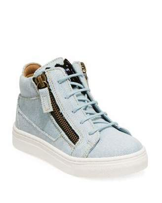 Giuseppe Zanotti Denim Mid-Top Sneakers, Toddler