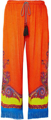 Etro Fringed Printed Knitted Wide-leg Pants