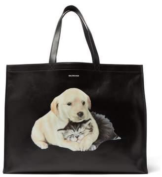 Balenciaga - Animal Print Leather Tote Bag - Womens - Black Multi