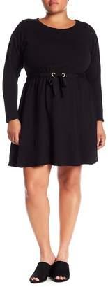 Bobeau Drawstring Waist Knit Dress (Plus Size)