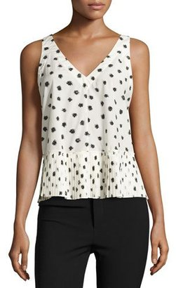 Rebecca Taylor Dandelion-Print Sleeveless Top, Chalk/Black $275 thestylecure.com
