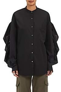 Robert Rodriguez Women's Poplin Ruffle-Trimmed Shirt - Black