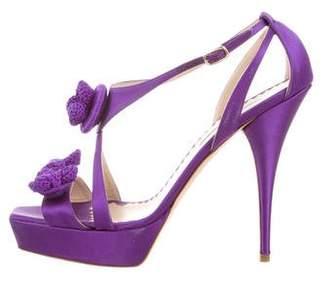 Oscar de la Renta Satin Platform Sandals