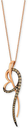 """LeVian Le Vian Chocolatier Diamond Abstract Heart 18"""" Pendant Necklace (5/8 ct. t.w.) in 14k Rose Gold"""