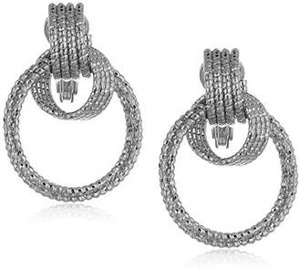 Anne Klein Women's And Diamond Cut Drop Hoop Clip On Earrings