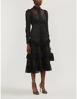 Alexis Evarra tiered ruffle-trim cotton midi dress