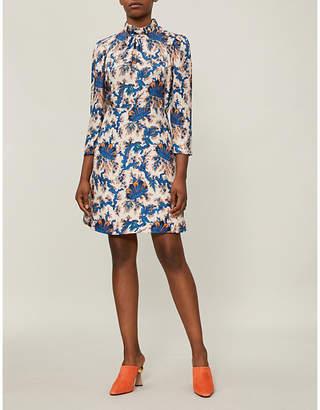 Sandro High-neck printed silk mini dress