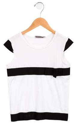 Christian Dior Girls' Bow-Accented Short Sleeve T-Shirt