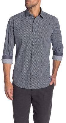 Bugatchi Diamond Patterned Long Sleeve Shaped Fit Shirt