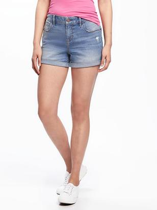 "Mid-Rise Rockstar Denim Shorts for Women (3 1/2"") $26.94 thestylecure.com"