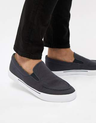 Asos Design Slip On Plimsolls In Navy With Floral Linings