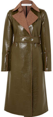 Victoria Beckham Belted Coated Wool-blend Coat - Green