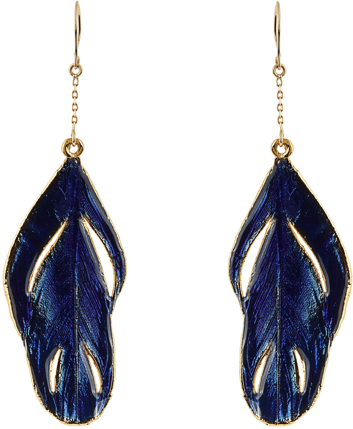 Aurelie Bidermann AURÉLIE BIDERMANN Plumes lacquered yellow-gold earrings