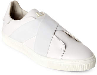Louis Leeman White Crisscross Leather Low-Top Sneakers