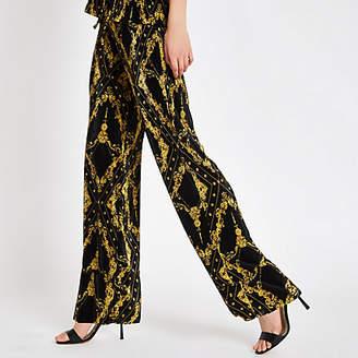 River Island Womens Black chain print plisse wide leg trousers