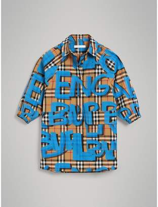 Burberry Graffiti Print Vintage Check Cotton Shirt Dress