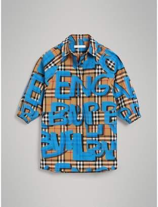 Burberry Childrens Graffiti Print Vintage Check Cotton Shirt Dress