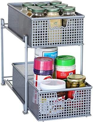 DecoBros 2 Tier Mesh Sliding Cabinet Basket Organizer Drawer