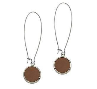 N'Damus London - Silverdale Tan Leather & Steel Drop Earrings