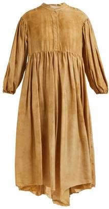 By Walid - Chantalle Mottled Effect Silk Shirtdress - Womens - Beige