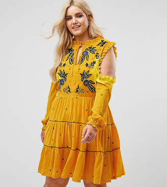 Frock and Frill Plus Frock And Frill Plus Cold Shoulder Velvet Smock Dress With Floral Embroidery