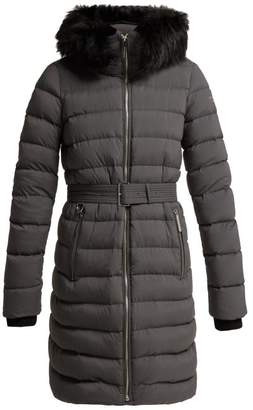Burberry Limehouse Shearling Trim Padded Coat - Womens - Grey
