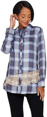 Logo By Lori Goldstein LOGO by Lori Goldstein Button Front Plaid Shirt with Lace Trim