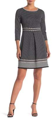 Max Studio Long Sleeve A-Line Scuba Dress