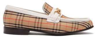 Burberry Moorely Dalston Vintage Check Canvas Loafers - Mens - White