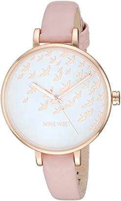 Nine West Women's NW/2134RGPK Rose Gold-Tone and Pink Strap Watch