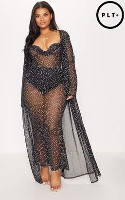 PrettyLittleThing Plus Black Mesh Polka Dot Maxi Kimono