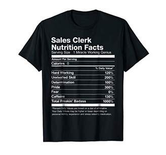 Sales Clerk Nutrition Facts Funny T-Shirt