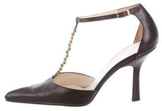 Chanel Leather T-Strap Pumps