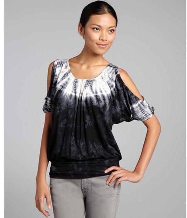 Romeo & Juliet Couture black tie-dye jersey cutout shoulder top