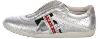 Prada Sport Laceless Metallic Leather Sneakers