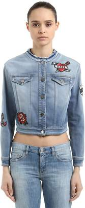 Karl Lagerfeld Captain Patch Cropped Denim Jacket