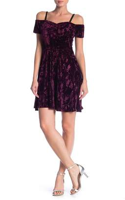 Angie Crushed Velvet Cold Shoulder Dress