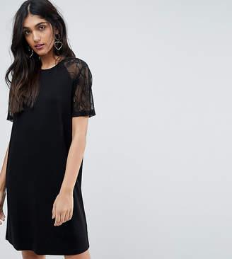 ASOS Tall ASOS TALL T-Shirt Dress with Lace Raglan Sleeve