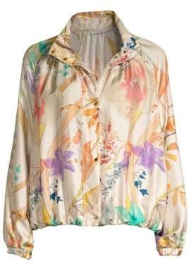 Agnona Floral Silk Bomber Jacket