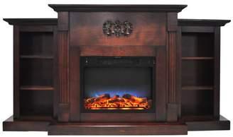 Cambridge Silversmiths 72 Electric Fireplace,Mahogany,Built-in Bookshelves