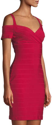 GUESS Cold-Shoulder Bandage Bodycon Dress