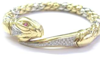 Chimento 18K Gem Ruby Diamond 2-Tone Snake Bracelet